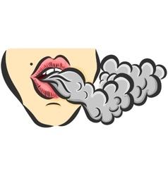 with girl and smoke vector image