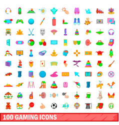 100 gaming icons set cartoon style vector