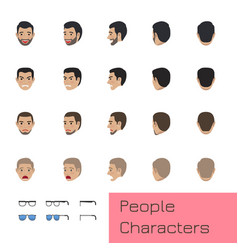 People characters set with emotions and poses vector