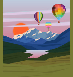 Drawing nature landscape template vector