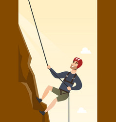 Young caucasian man climbing a mountain with rope vector