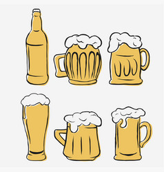Beer glasses set hand-drawing glass and bottle vector