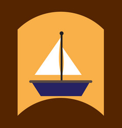 Flat icon design collection boat and sail vector