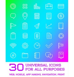 30 universal icons set for all purposes web mobile vector