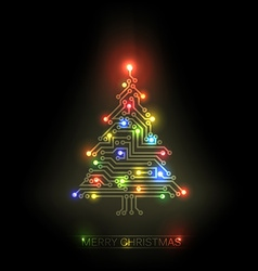 christmas tree from digital circuit vector image
