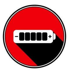 Red information icon white battery full vector