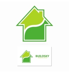 Eco house logo template vector