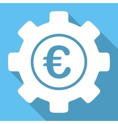 Euro development flat square icon with long shadow vector