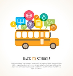 School bus with color speech bubbles vector