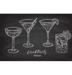 Hand drawn set of alcoholic cocktails vector image