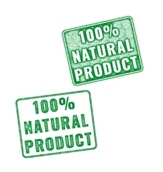 Realistic 100 natural product rubber stamp vector