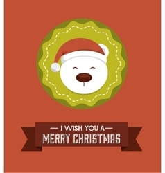 Snow bear icon merry christmas design vector