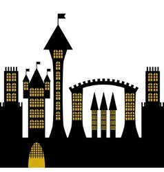 Ancient gothic castle black silhouette vector