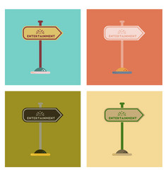 Assembly flat icons sign entertainment vector