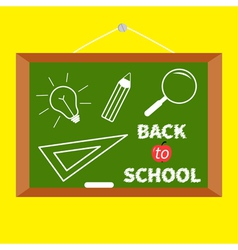 Back to school board with magnifer pencil bulb vector