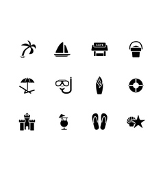 Beach icons on white background vector image