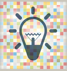 Bulb icon on colorful squares background lamp vector