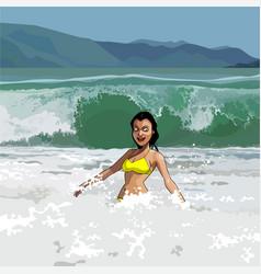 Cartoon happy girl in swimsuit having fun vector