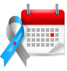 Diabetes awareness ribbon and calendar vector