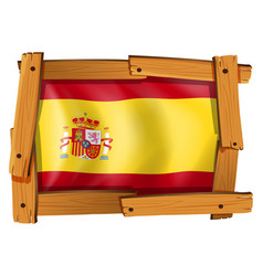 Flag of spain on wooden frame vector