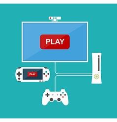 Flat design computer games concept game vector