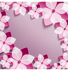 Floral festive frame with pink 3d flowers sakura vector