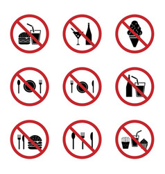 food and drink prohibition sign icons set vector image vector image