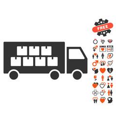 Goods transportation truck icon with love bonus vector