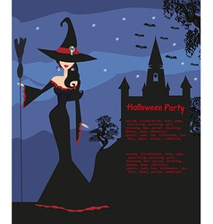 halloween invitation with beautiful witch vector image vector image