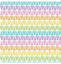 Hand drawn rainbow triangles on white background vector image vector image