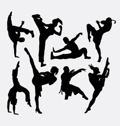Kungfu martial arts silhouettes vector image vector image