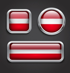 Latvia flag glass buttons vector image vector image