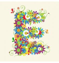 letter E floral design vector image vector image