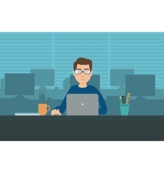 Man with laptop in office room vector