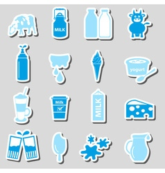milk and milk product theme stickers set eps10 vector image vector image