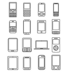 Mobile phones line icons set vector
