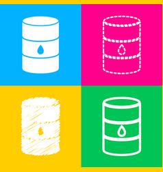 Oil barrel sign four styles of icon on four color vector