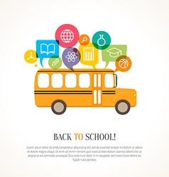 School bus with color speech bubbles vector image vector image