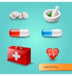 Set of medical icons and symbols vector image vector image