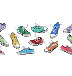 Sneakers shoes horizontal seamless pattern vector image vector image