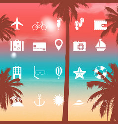 summer holidays icons flat icons with exotic vector image vector image