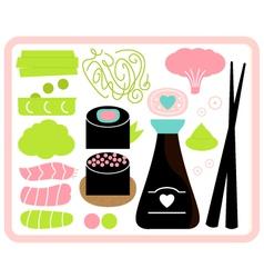 Sushi bento box set isolated on white vector