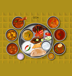 Traditional goan cuisine and food meal thali of vector