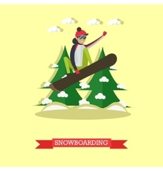 Snowboarder jumping in flat vector
