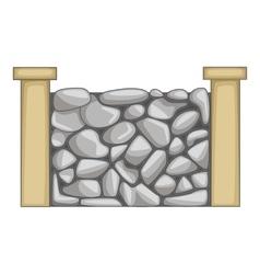 Stone fence icon cartoon style vector image