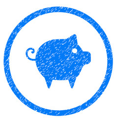 Piggy rounded grainy icon vector