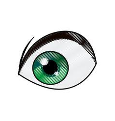 cartoon green eye cartoon design vector image