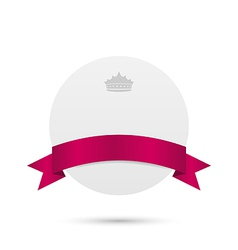 Greeting card with pink ribbon and crown vector