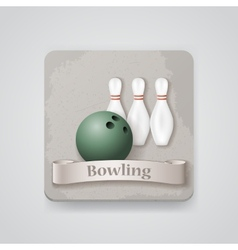 Skittles and ball for bowling game icon vector