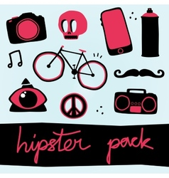 Hipster objects set vector